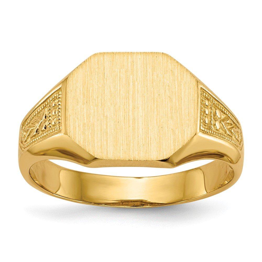 14k Yellow Gold Fashion Mens Signet Ring Diamond2deal RS347