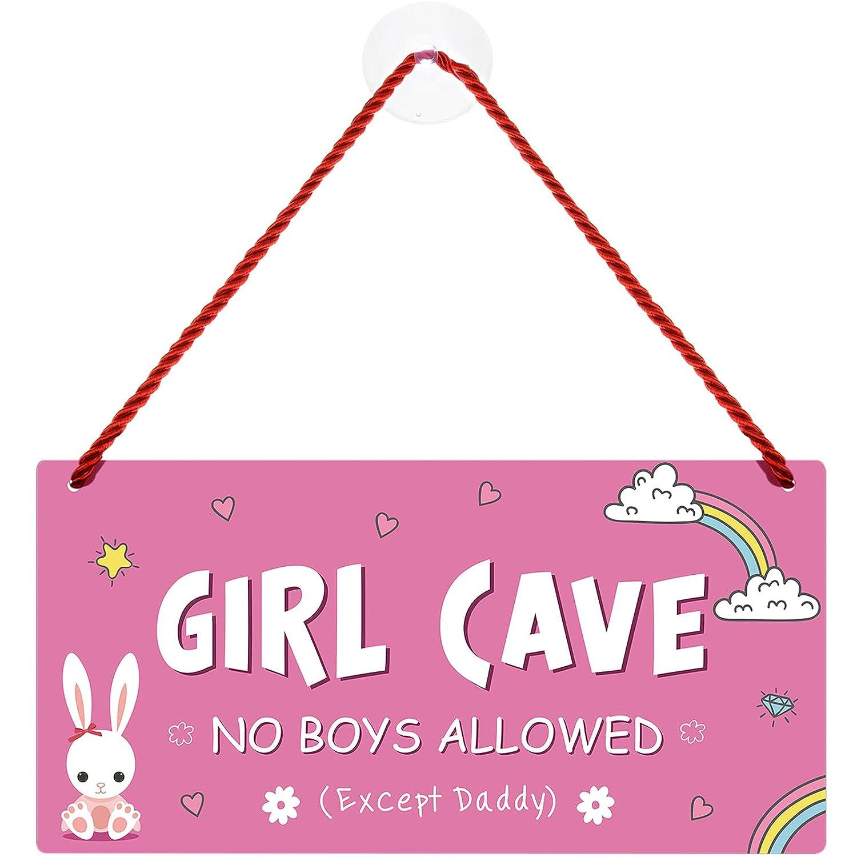 12 x 6 Inch Waterproof Girl Cave Sign PVC Plastic Door Sign Cute Hanging Sign Kids Room Signs for Door Signs Decor for Bedroom