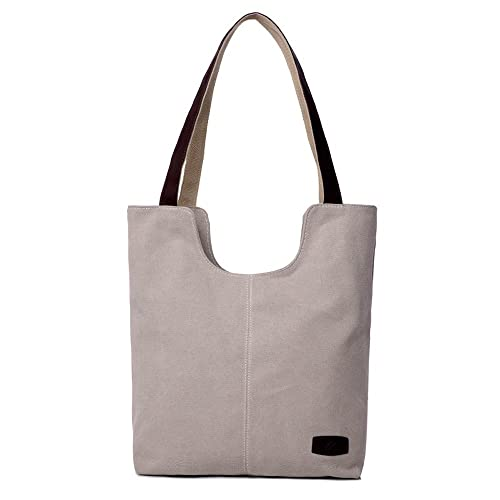 Hiigoo Simple Portable Bags Canvas Tote Bag Casual Shoulder Bag Bigger  Handbag (Beige) 1fb5186a78