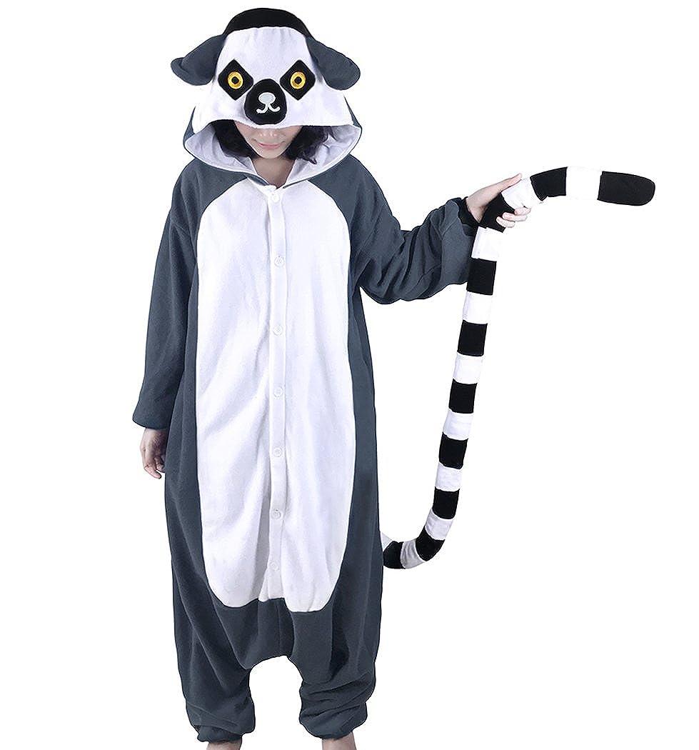 dressfan Unisex Animal Character Hooded Pajamas Adult Kids Lemur Cosplay Costume