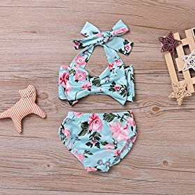 - 61wWI5iRmNL - 2Pcs Baby Girls Halter Bowknot Tube Top+Floral Short Bottoms Bikini Bathing Suit Swinwear