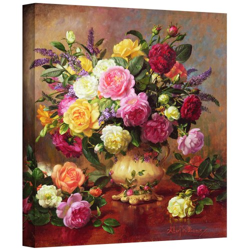 Still Life Oil Painting Flowers (Art Wall williams-b-007-36x36-w Albert Williams 'Roses from a Victorian Garden' Gallery-Wrapped Canvas Artwork, 36 by 36-Inch)