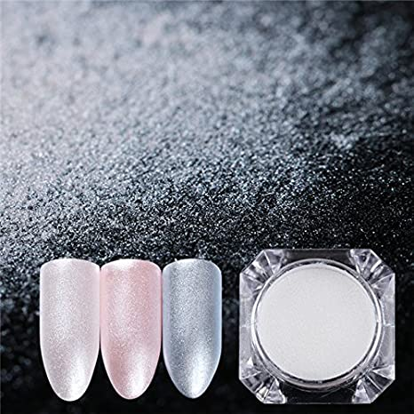 Amazon.com: Nail Art Powder - 1 Box Diamond Pearl Mermaid Powder 1.5g Shining White Nail Art Glitter Powder Dust DIY Nail Decoration Pigment - Dust Nail ...