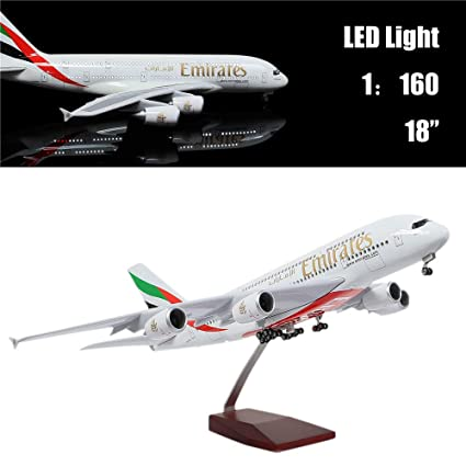 """24-Hours 18""""1:160 Scale Assembled Airplane Model Kits for Adults Emirates  A380 with LED Light(Touch or Sound Control) Diecast Plane for Decoration or"""