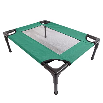 Access Control Detachable Assembly Style Breathable Pet Steel Frame Camp Bed S Green