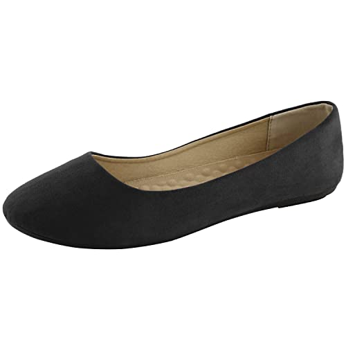 4de57e0b3e9bb DailyShoes Women's Classic Flats Comfortable Upper Round Flat Slip-On  Loafer Sneaker Shoes-Ideal for Casual Occasions