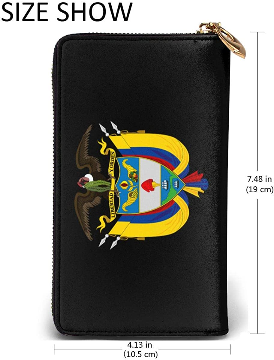 Colombia Badge Vulture Flag Womens RFID Blocking Zip Around Wallet Genuine Leather Clutch Long Card Holder Organizer Wallets Large Travel Purse