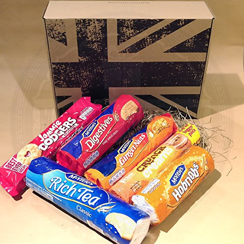 The British Favourite Classic Biscuit Collection Gift Box - Top 6 Best Selling Classic Biscuits - Selection Of Favourite Biscuits - Jammie Dodgers, Mcvities Digestives, Ginger Nuts, Hobnob's, Rich Tea