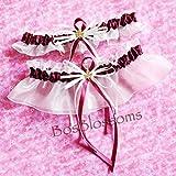 Custom fit handmade - Burgundy/Wine garter set - fall autumn wedding garters with maple leaf charms