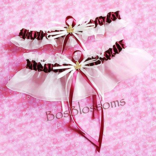 Custom fit handmade - Burgundy/Wine garter set - fall autumn wedding garters with maple leaf charms by BOYX Designs