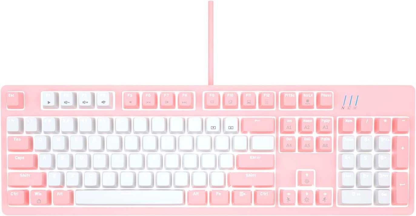 Mechanical Pink Gaming Keyboard£¬Magegee MK-Armor LED Rainbow Backlit and Wired USB 104 Keys Keyboard with Blue Switches, for Windows PC Laptop Game(Pink&White)