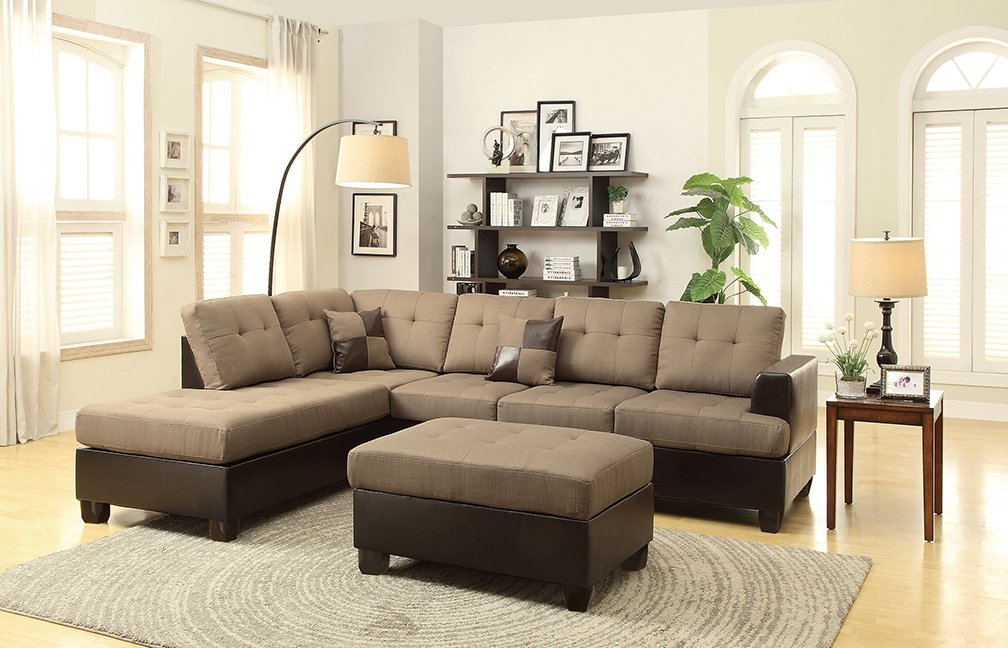 cupboard poundex sectional leather furniture