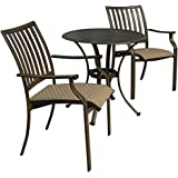 Panama Jack Outdoor Island Breeze 3-Piece Slatted Dining Bistro Group Set, Includes 2 Armchairs and 30-Inch Round Table Aluminum Slatted Table