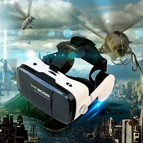 """3D VR Headset, DMYCO 3D VR Glasses 3D Virtual Reality Headset Support Call Answer for Movies Games 4.7-6.0"""" iPhone 6s/6 plus/6 Samsung Galaxy s5/s6/note4/note5 Smartphones (Halloween Christmas Gifts)"""