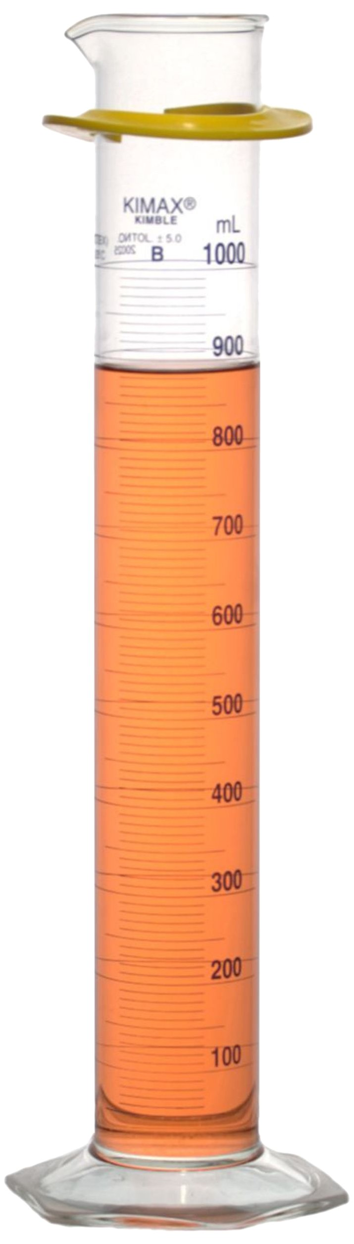 Kimble 20025-1000 Borosilicate Glass Class B Single Blue Metric Scale Graduated Cylinder with Bumper, Calibrated to Deliver, 1L Capacity (Case of 4)