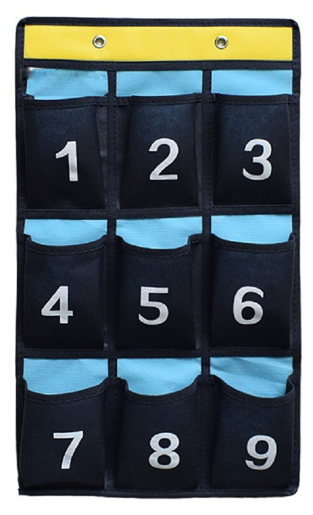 NIMES Numbered Organizer Classroom Pocket Chart for Cell Phones Calculators Holders Blue (9 Pockets)