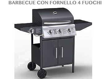 1713533 barbacoa con hornillo a 4 fuegos para jardín exterior