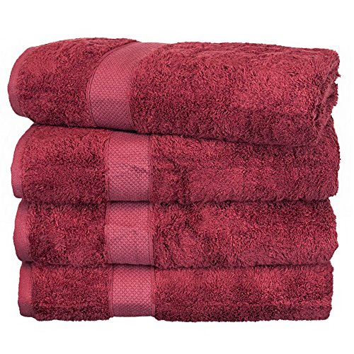 Home Piece Spa Collection 4 (BC BARE COTTON Luxury Hotel & Spa Towel Turkish Cotton Rayon Bath Set of 4, Cranberry, 4 Piece)