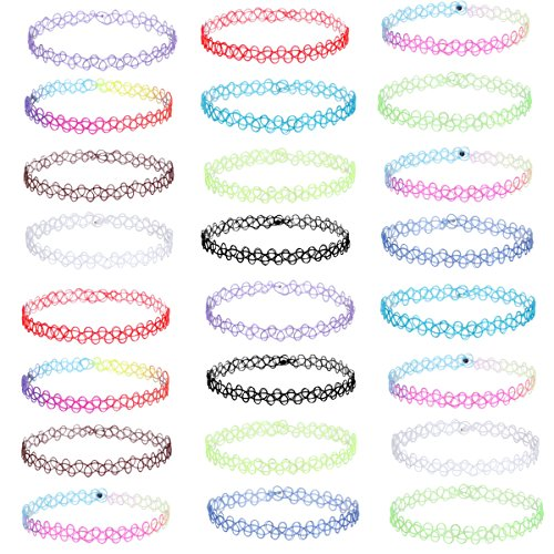 Tpocean 24 PCS Choker Necklaces Rainbow Rubber Gothic Tattoo Henna Stretch Elastic Colorful Chokers Set for Women Girls Teen -