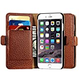 iPhone 6 / 6S Case, Icarer [Multifunctional Microfiber Card-slot Series] Detachable Fraction Style Genuine Leather Case with Magnetic Closure & Stand for iphone 6s / iphone 6 Case-K14-Brown 4.7