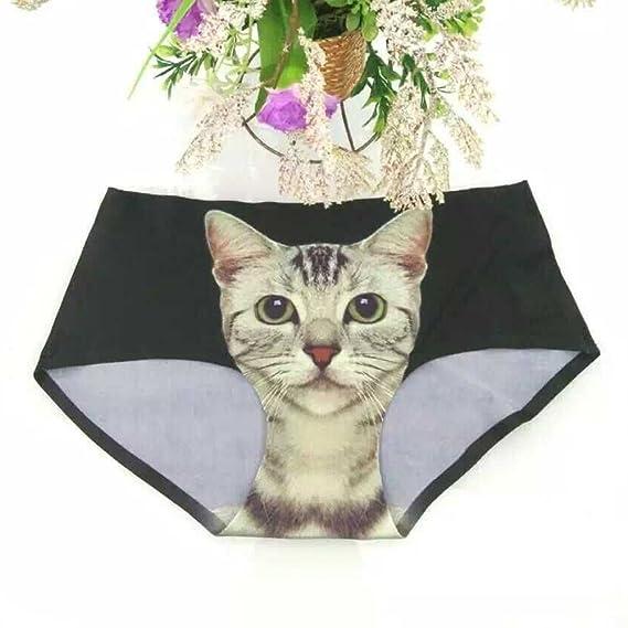 b15bfde5ec70 Sanwood Women Sexy Panties Cat Printing Seamless Briefs Underpants (Black):  Amazon.co.uk: Clothing