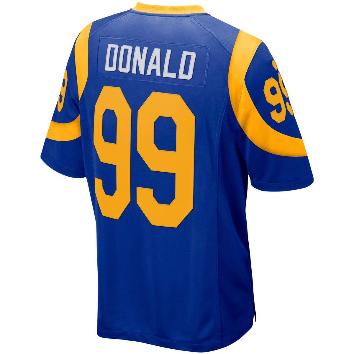 Fabric Fit Kurzarmhemden Fußball Trikots Herren/Damen LA Rams NO.99 Donald Fans Sportkleidung T-Shirt Atmungsaktiv Schnell Trocken Jersey Heimtrikot