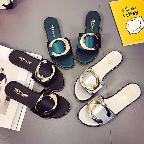 beach comfortable one flat fashionable Women's WHLShoes anti and slippers bottom ladies slip green Antique sandals casual Sandals v00wzZq