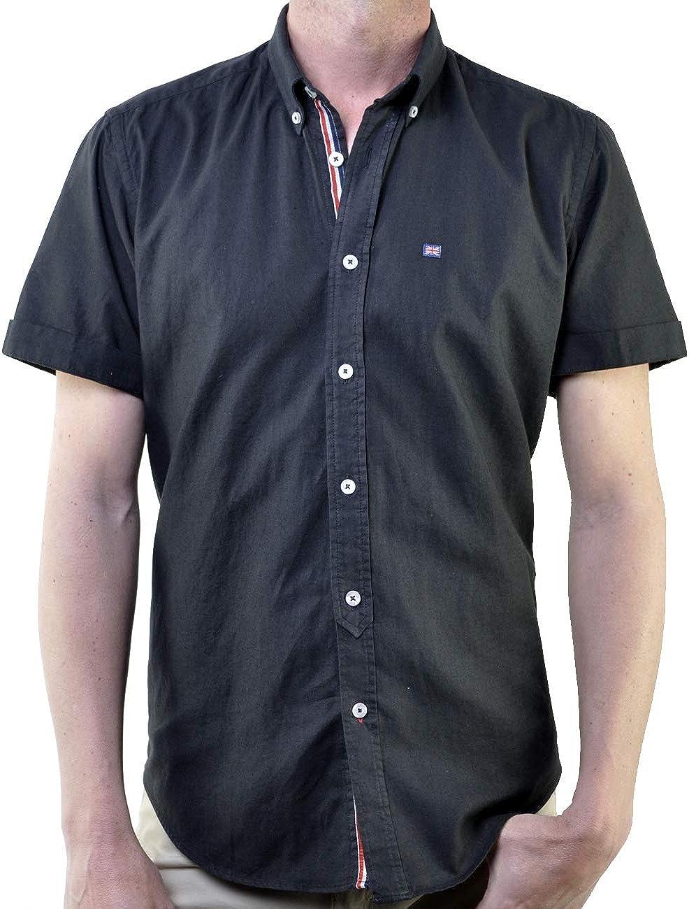 SCOTT MILLER London Camisa Hombre Manga Corta Mod. Linen Color Negro: Amazon.es: Ropa y accesorios