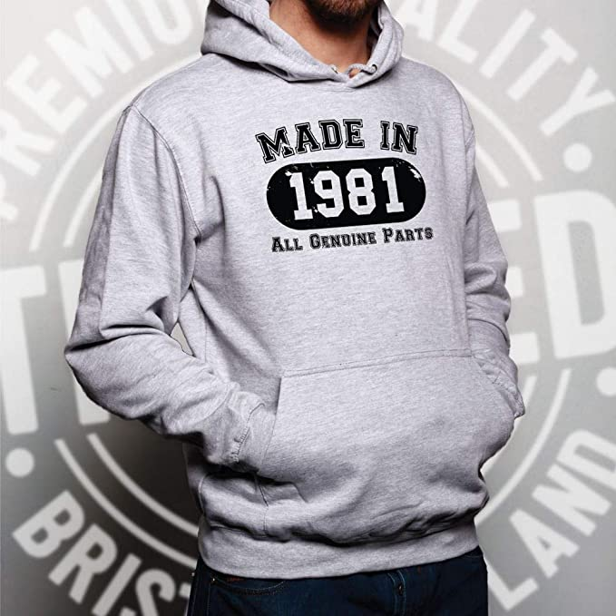 Birthday Hoodie Made in 1964 All Genuine Parts Novelty Slogan Old