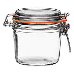 6 Le Parfait Super Terrines - New Stainless Steel Wire - Wide Mouth French Glass Preserving Jars with Straight Bodies, Glass Lids and Natural Rubber Seals (6, 350ml - 12oz - SS)