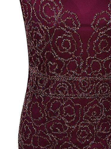 Vijiv 1920s Inspired Gatsby V Back Art Deco Beaded Maxi Evening Long Prom Dress,Red,Large
