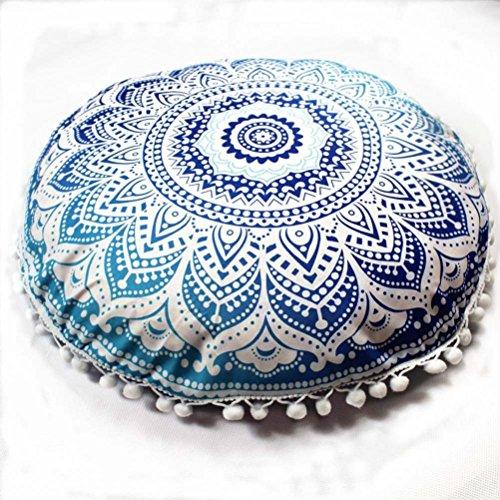 Napoo 2018 New Indian Mandala Print Pillows Round Bohemian Home Pillows Case Cushions ()