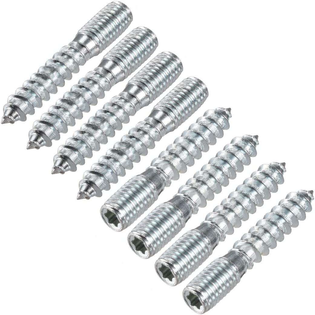 uxcell 8Pcs M10x50mm Hanger Bolt Double Headed Bolt Self-Tapping Screw for Furniture