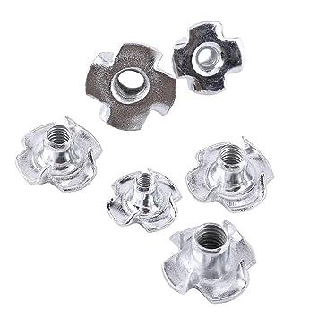 100 x SO-TECH/® Tuerca para Clavar M6 x 10 x 18 mm con 4 Puntas por la Consolidaci/ón de Componentes de Muebles diferentes