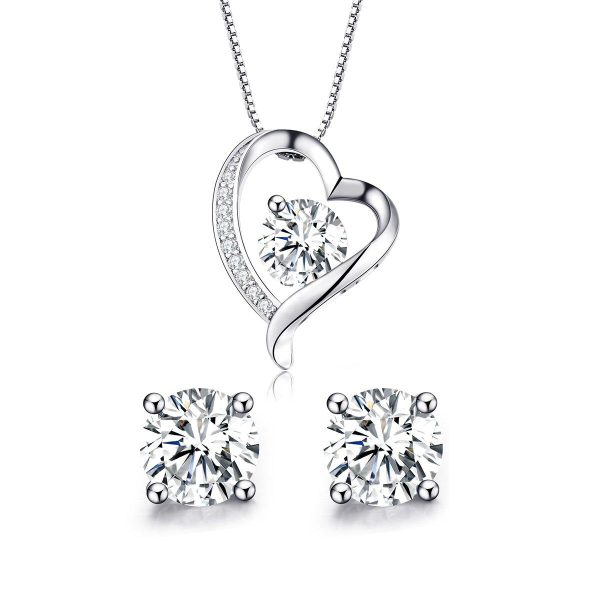 Turantu ♥Gift for Women♥ 925 Sterling Silver Forever Love Heart Pendant Necklace&Earrings Set
