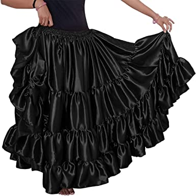 Details about  /BROWN Satin 25 Yard 4 Tiered Skirt Belly Dance Gypsy Flamenco Costume ATS Tribal