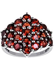 Orchid Jewelry 925 Sterling Silver Red Garnet Cluster Ring For Women