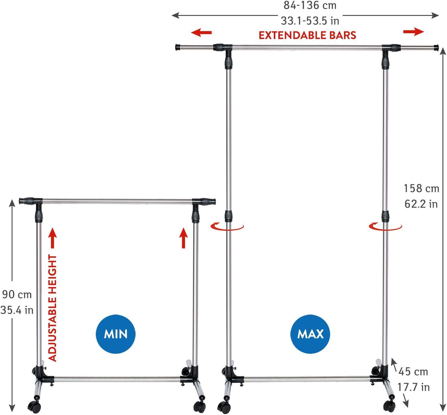Tatkraft 16101 Portant /à V/êtements Acier Argent 136 x 45 x 158 cm