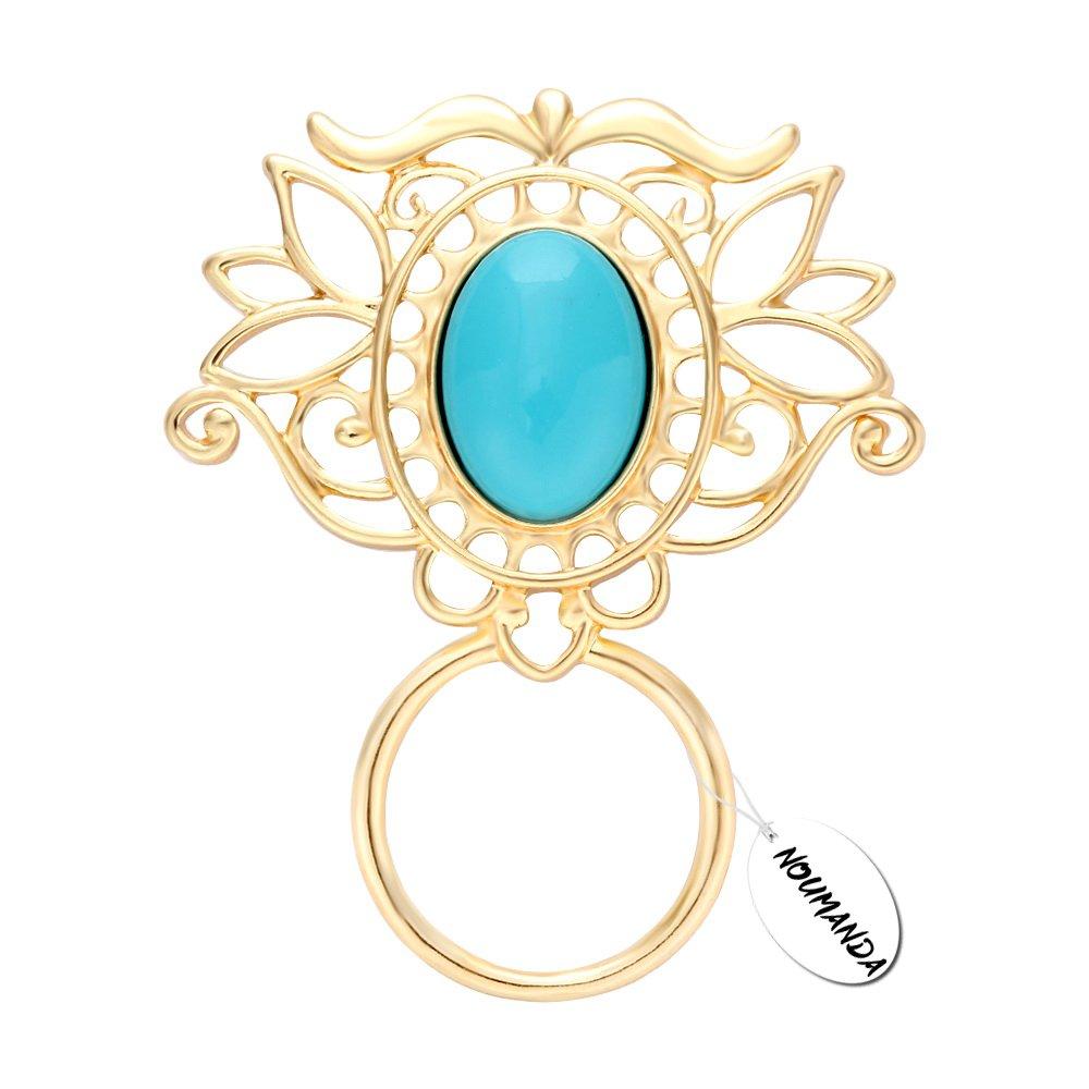 NOUMANDA Exquisite Turquoise Floral Magnetic Eyeglass Holder Brooch (Gold)
