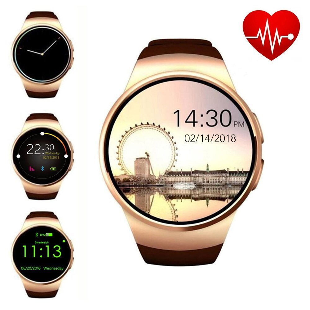 ZAOYI Bluetooth Smart Watch Cell Phone, Round Touch Screen Fitness Watches Support SIM Card TF Card with Heart Rate Monitor for Men, Compatible with iOS iPhone and Android Samsung Phone(Gold)