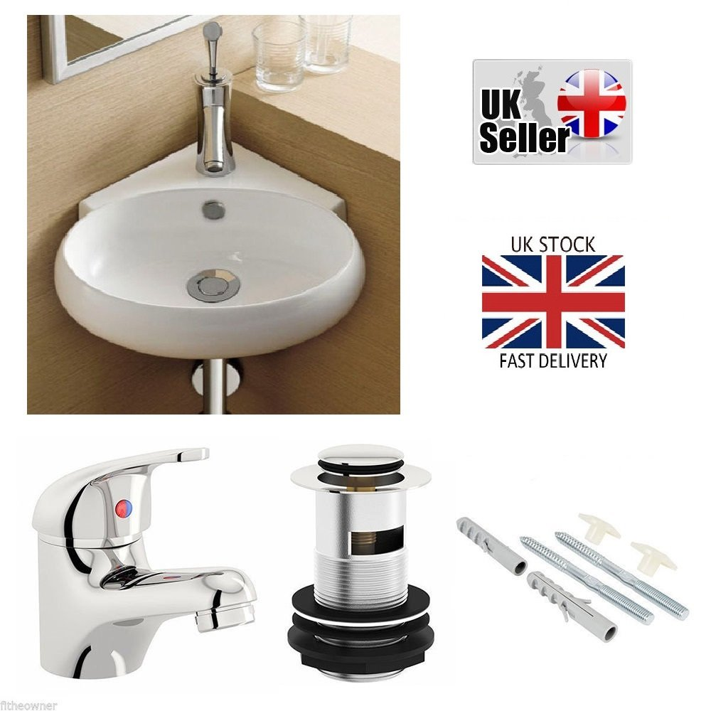 Drop Bathrooms MODERN COMPACT SMALL CLOAKROOM CORNER BASIN SINK WALL HUNG + TAP & WASTE