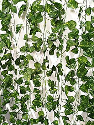 ShinyBeauty 12pcs (84 Feet) Artificial Ivy Leaf privacy fence Fake Ivy Vines outdoor for Decorative Home Garden Wall