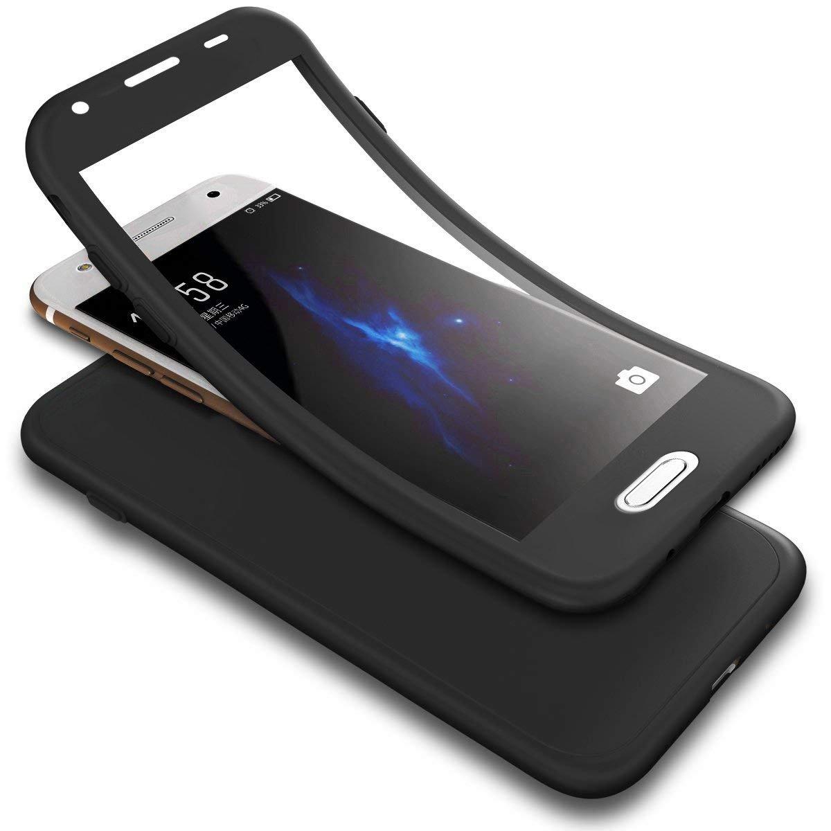 Coque Galaxy J5 Prime/On5 2016 Ultra Mince Silicone TPU 360 degrés de protection+Protecteur d'écran en verre tempéré 2 e 1 360 degrés Full Body Protection Flexible Soft Gel Bumper Protective Case JAWSEU JBGMX000031B