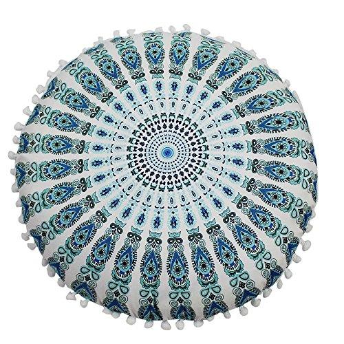 MURTIAL Pillow Case,Indian Mandala Floor Pillows Round Bohemian Cushion Pillows Cover Case Cushions 4' Quilting Stencil Design