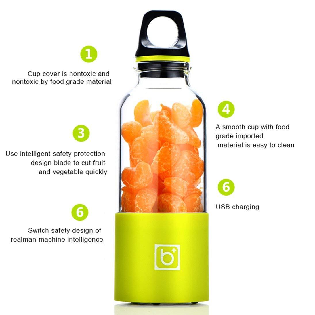 500 ML Portable /Électrique Presse-agrumes Tasse USB Rechargeable Automatique L/égumes Fruits Jus Maker Coupe Jus Extracteur Mixeur M/élangeur