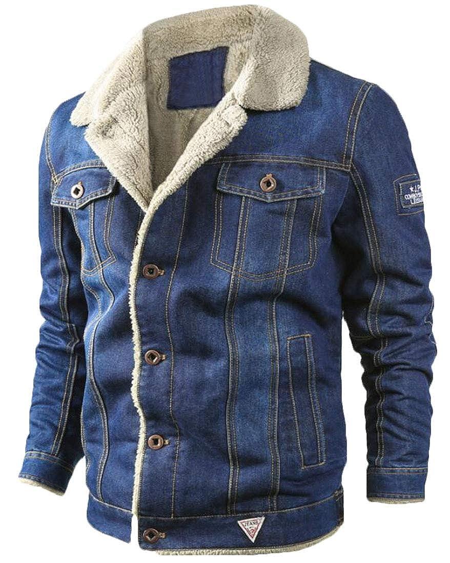 omniscient Mens Fleece Denim Jacket Winter Fall Warm Cowboy Coat Outerwear