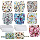 Waloden Pañales Lavables de Tela Reutilizables y Ajustable Pañales de Tela para Bebés 7 Piezas con 2 Bolsas de Almacenamiento