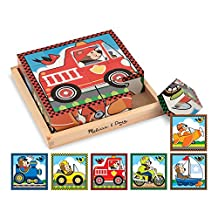 Melissa & Doug Vehicles Wooden Cube Puzzle With Storage Tray - 6 Puzzles in 1 (16 pcs)