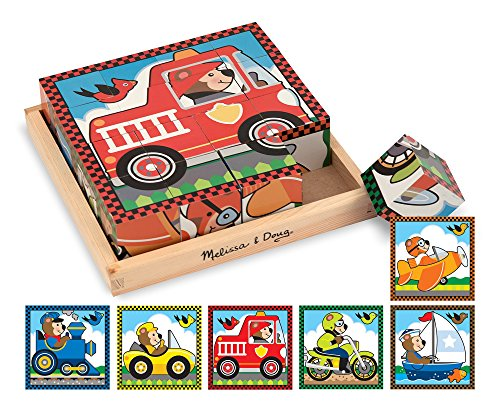 Melissa & Doug Vehicles Wooden Cube Puzzle With Storage Tray - 6 Puzzles in 1 (16 (Melissa & Doug Border)