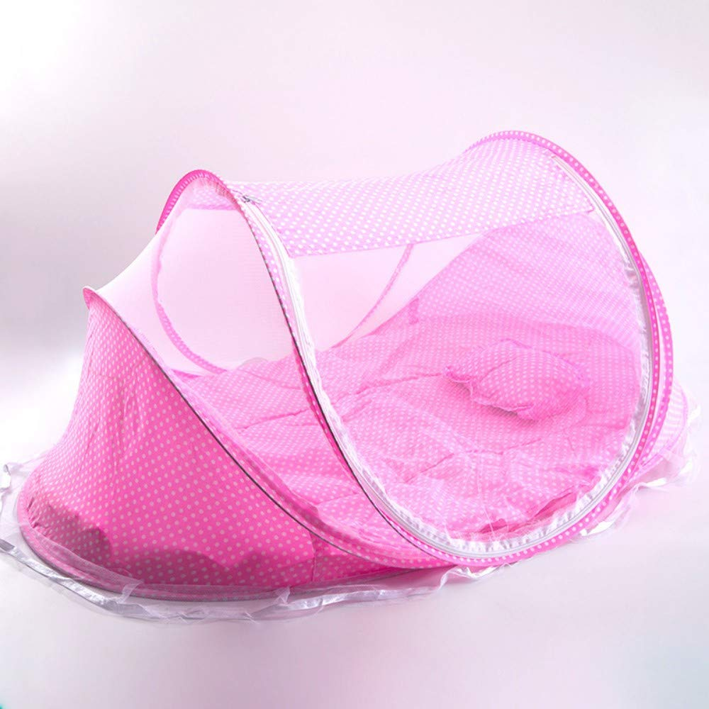 TYZNB Baby Mosquito net Summer Mosquito Folding Portable Free Installation Child Mosquito net Bed Full Cover 2019 New, Pink Three-Piece, 1106050